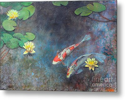 Lotus Pool Metal Print by Lori McNee