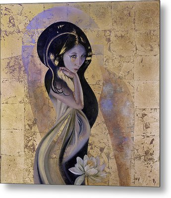 Metal Print featuring the painting Lotus by Ragen Mendenhall
