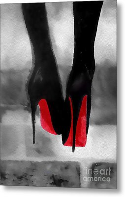 Louboutin At Midnight Black And White Metal Print by Rebecca Jenkins