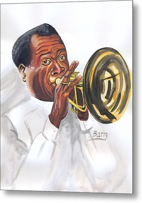 Metal Print featuring the painting Louis Armstrong by Emmanuel Baliyanga