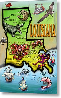 Louisiana Cartoon Map Metal Print by Kevin Middleton