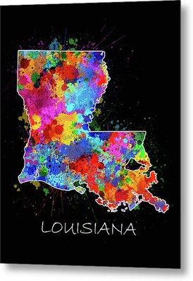 Louisiana Map Color Splatter 2 Metal Print