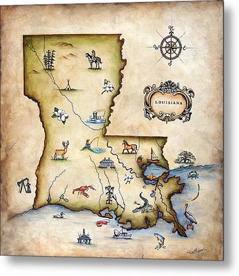 Louisiana Map Metal Print by Judy Merrell