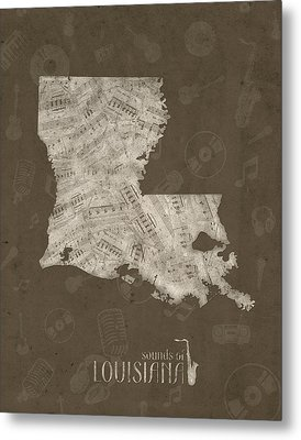Louisiana Map Music Notes 3 Metal Print