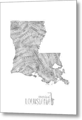 Louisiana Map Music Notes Metal Print