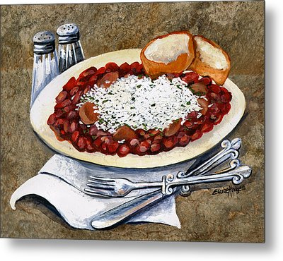 Louisiana Red Beans And Rice Metal Print by Elaine Hodges