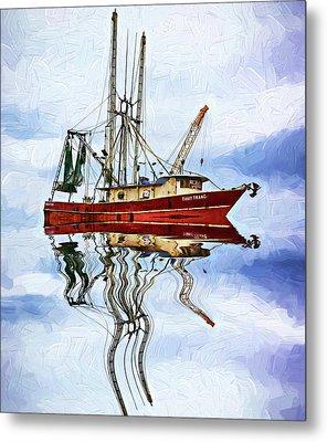 Louisiana Shrimp Boat 4 - Impasto Metal Print