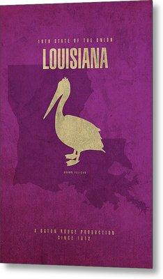 Louisiana State Facts Minimalist Movie Poster Art Metal Print