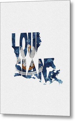 Louisiana Typographic Map Flag Metal Print