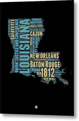 Louisiana Word Cloud Map 1 Metal Print