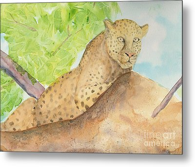 Metal Print featuring the painting Lounging Leopard by Vicki  Housel