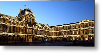Metal Print featuring the photograph Louvre At Night 1 by Andrew Fare