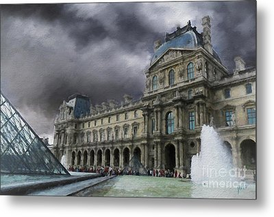 Metal Print featuring the mixed media Louvre by Jim  Hatch