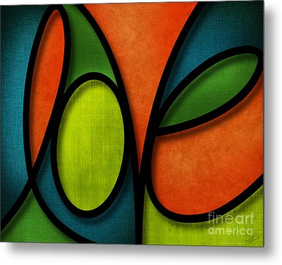 Metal Print featuring the mixed media Love - Abstract by Shevon Johnson