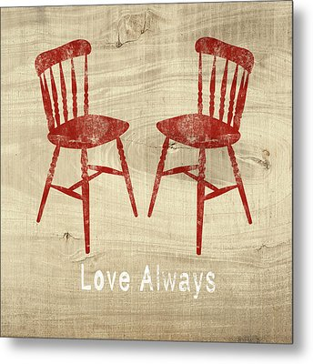 Love Always Red Chairs- Art By Linda Woods Metal Print by Linda Woods