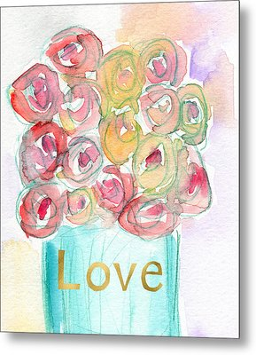 Love And Roses- Art By Linda Woods Metal Print by Linda Woods