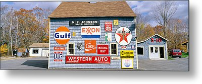 Love Barn With Road Signs, Orland, Maine Metal Print by Panoramic Images