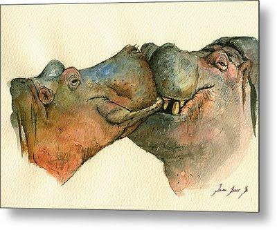 Love Between Hippos Metal Print by Juan  Bosco