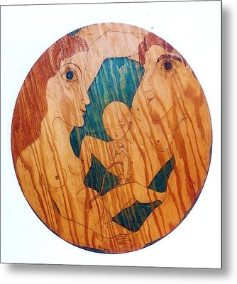 Metal Print featuring the greeting card Love Circle by Rae Chichilnitsky