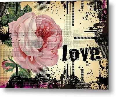 Love Grunge Rose Metal Print
