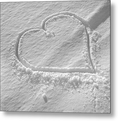 Love Heart In The Snow Metal Print by German School