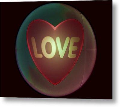 Love Heart Inside A Bakelite Round Package Metal Print