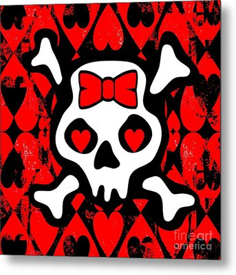 Love Heart Skull Metal Print by Roseanne Jones