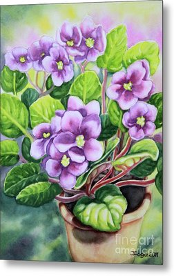 Metal Print featuring the painting Love In Purple 2 by Inese Poga