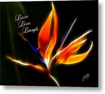 Love Laugh Live Strelitzia Reginae Digital Artwork Metal Print