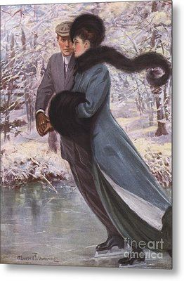 Love Laughs At Winter Metal Print by Clarence F Underwood