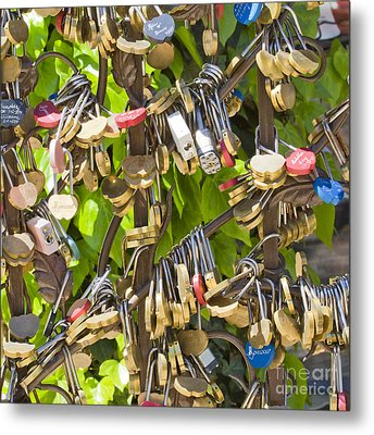Metal Print featuring the photograph Love Locks Square by Chris Dutton