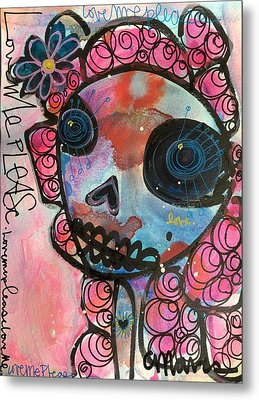 Metal Print featuring the painting Love Me Please by Laurie Maves ART