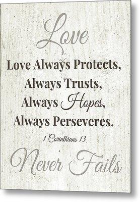 Love Never Fails- Art By Linda Woods Metal Print by Linda Woods