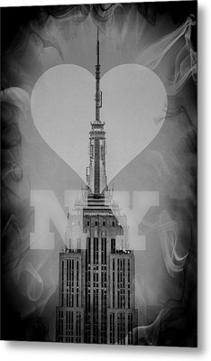 Love New York Bw Metal Print by Az Jackson