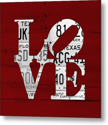 Love Sign Vintage License Plates On Red Barn Wood Metal Print by Design Turnpike