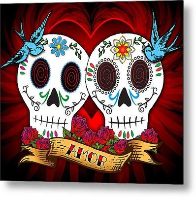 Love Skulls Metal Print