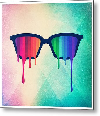 Love Wins Rainbow - Spectrum Pride Hipster Nerd Glasses Metal Print by Philipp Rietz
