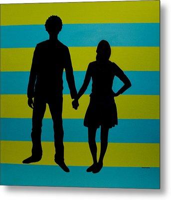 Lovebirds In Silhouette Metal Print by Ramey Guerra