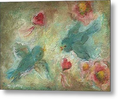 Lovebirds Metal Print by Mary Wolf