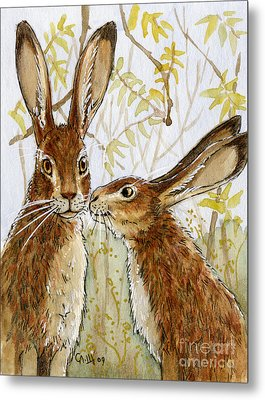 Lovely Rabbits - Little Kiss  Metal Print by Svetlana Ledneva-Schukina