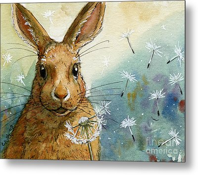 Lovely Rabbits - With Dandelions Metal Print by Svetlana Ledneva-Schukina