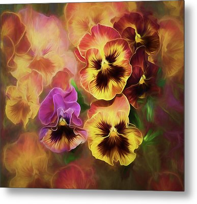 Metal Print featuring the photograph Lovely Spring Pansies by Diane Schuster