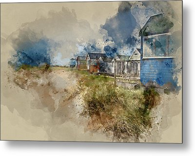 Lovely  Watercolour Painting Of Beach Huts On Sand Dunes And Beach Landscape  Metal Print by Matthew Gibson