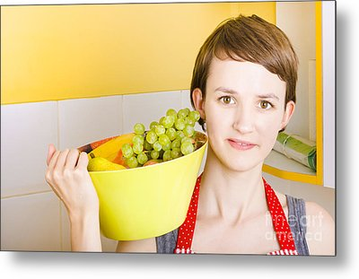 Lovely Young Woman Holding Bowl Of Fruit Salad Metal Print by Jorgo Photography - Wall Art Gallery