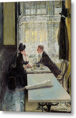 Lovers In A Cafe Metal Print by Gotthardt Johann Kuehl