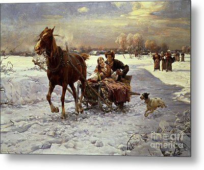 Lovers In A Sleigh Metal Print by Alfred von Wierusz Kowalski