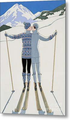 Lovers In The Snow Metal Print by Georges Barbier