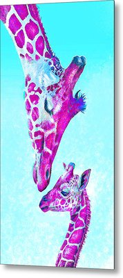 Metal Print featuring the digital art Loving Giraffes- Magenta by Jane Schnetlage