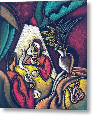 Metal Print featuring the painting Loving Relationship by Leon Zernitsky