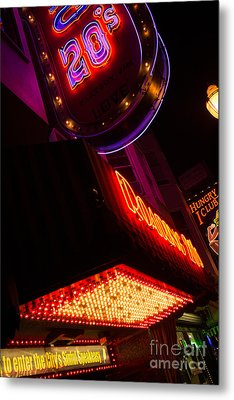 Low Angle Neon Signs At Night In North Beach San Francisco Metal Print by Jason Rosette